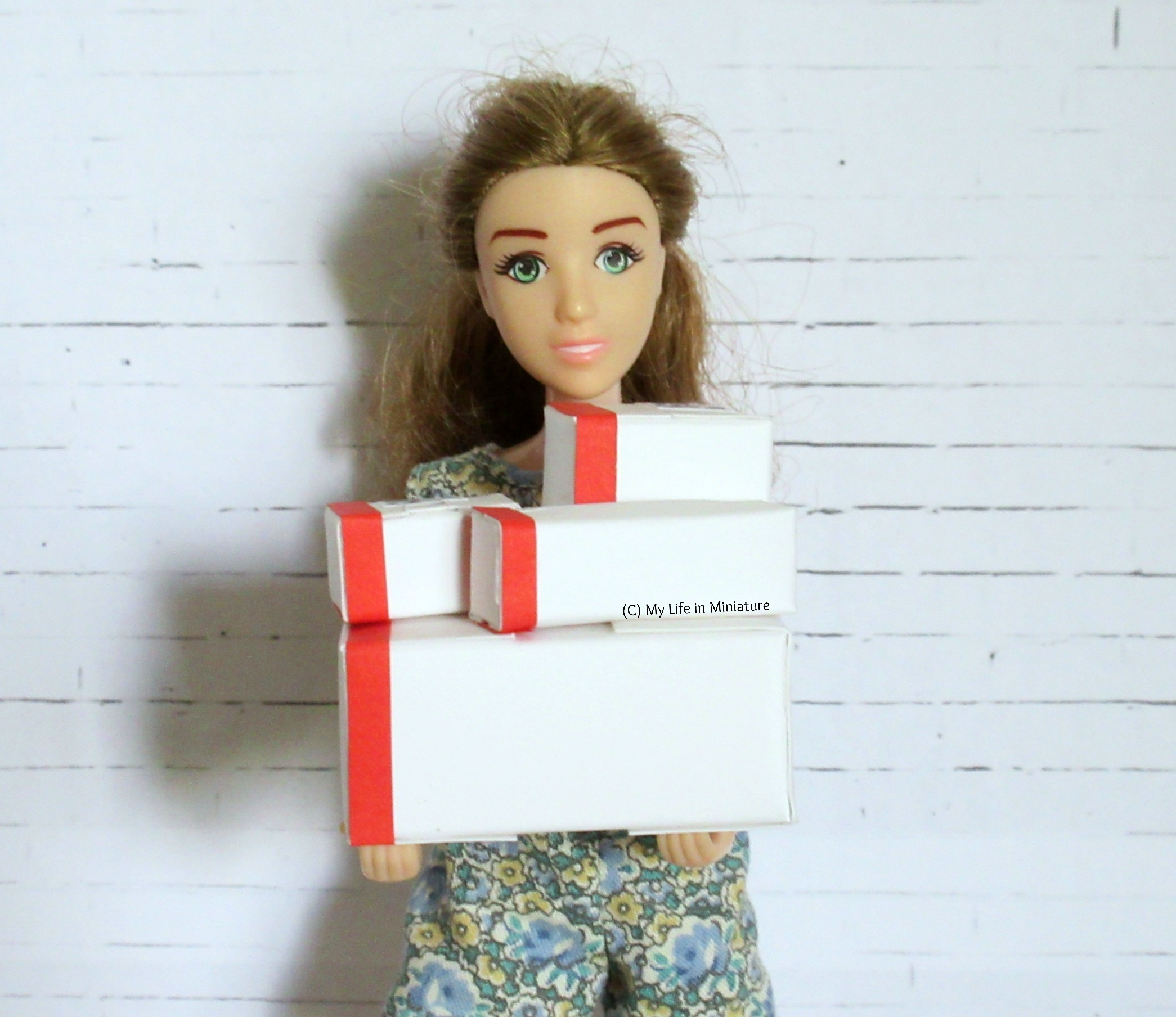 Sarah holds a stack of white boxes with red stripes on the side. They are various sizes, with three smaller ones stacked on a large one.