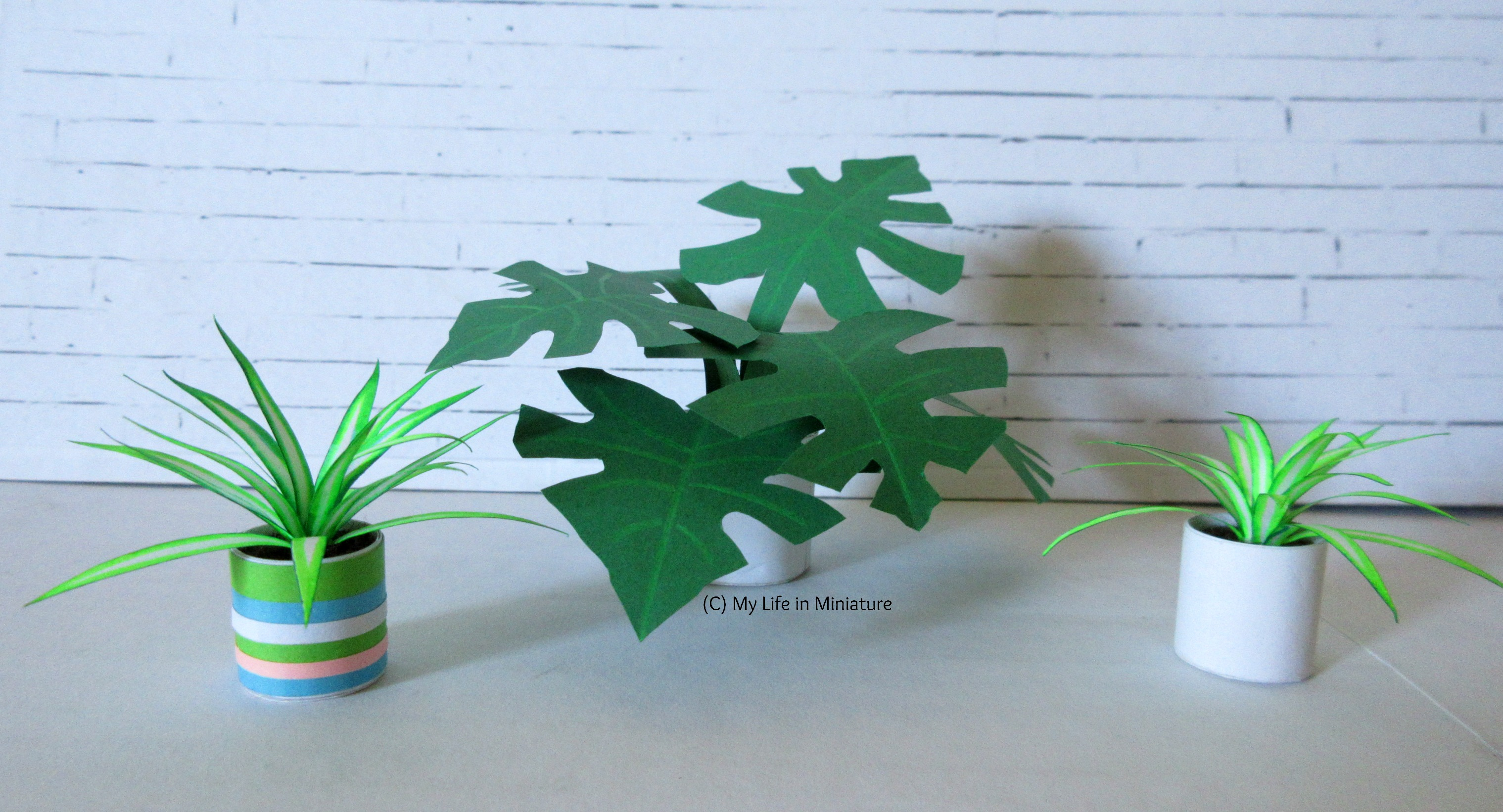 Three paper houseplants sit against a white brick background. In the centre is a monstera, and the other two are spiderplants.