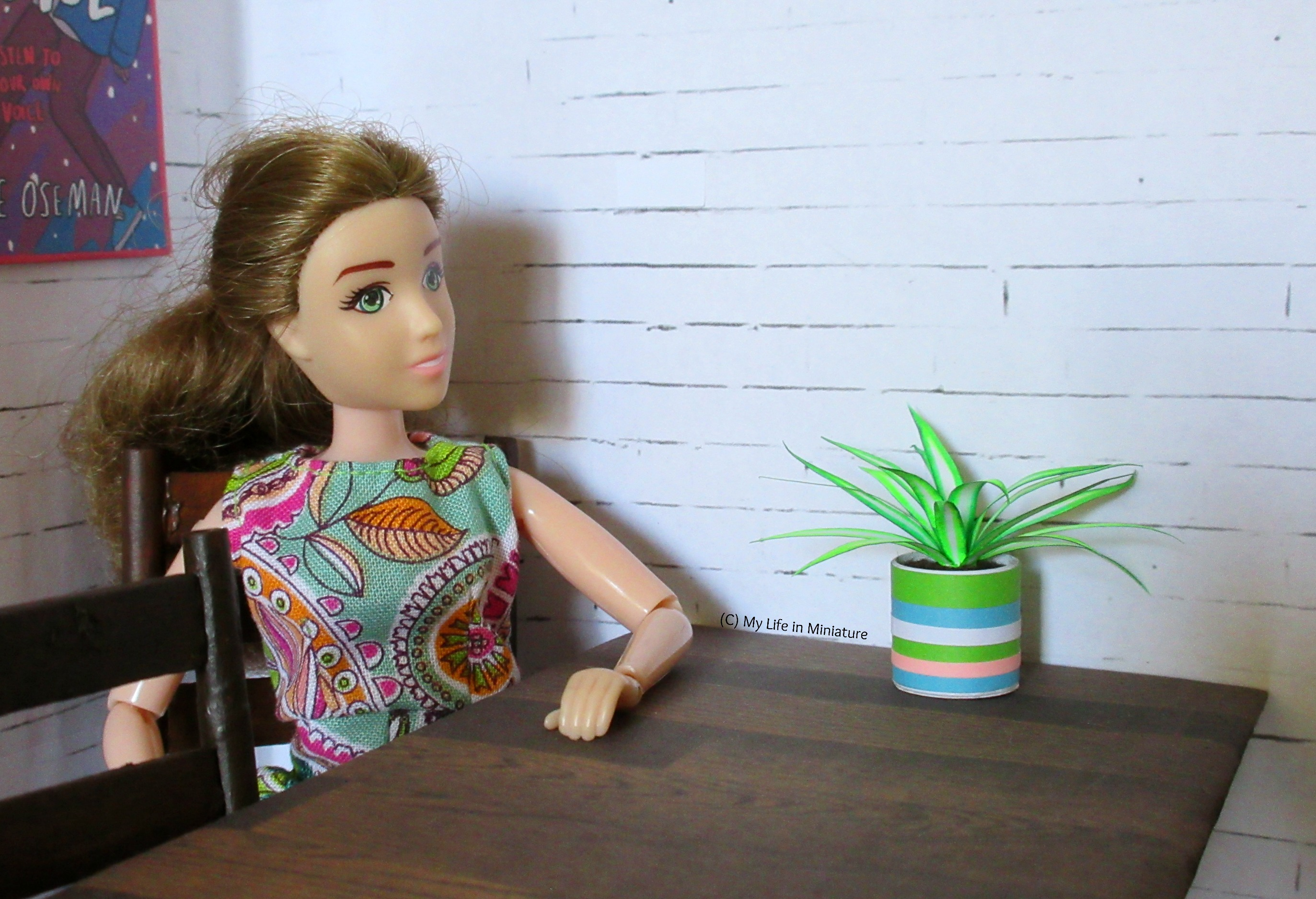 Sarah sits at her dining table, looking at her spiderplant. It sits in the middle of the table, against the wall.