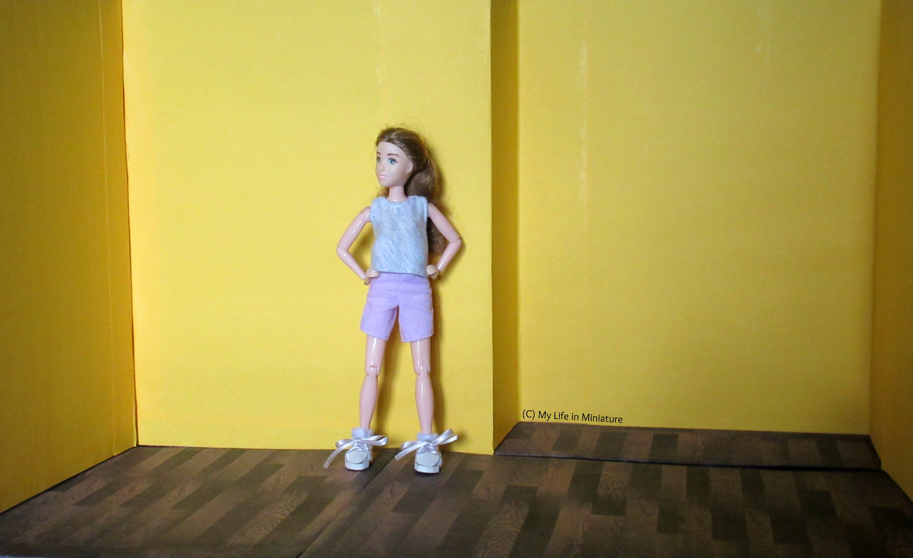 Sarah stands inside an opened-up cereal box. The walls are yellow, and the floor is dark wood. Her hands are on her hips and she looks around the space.