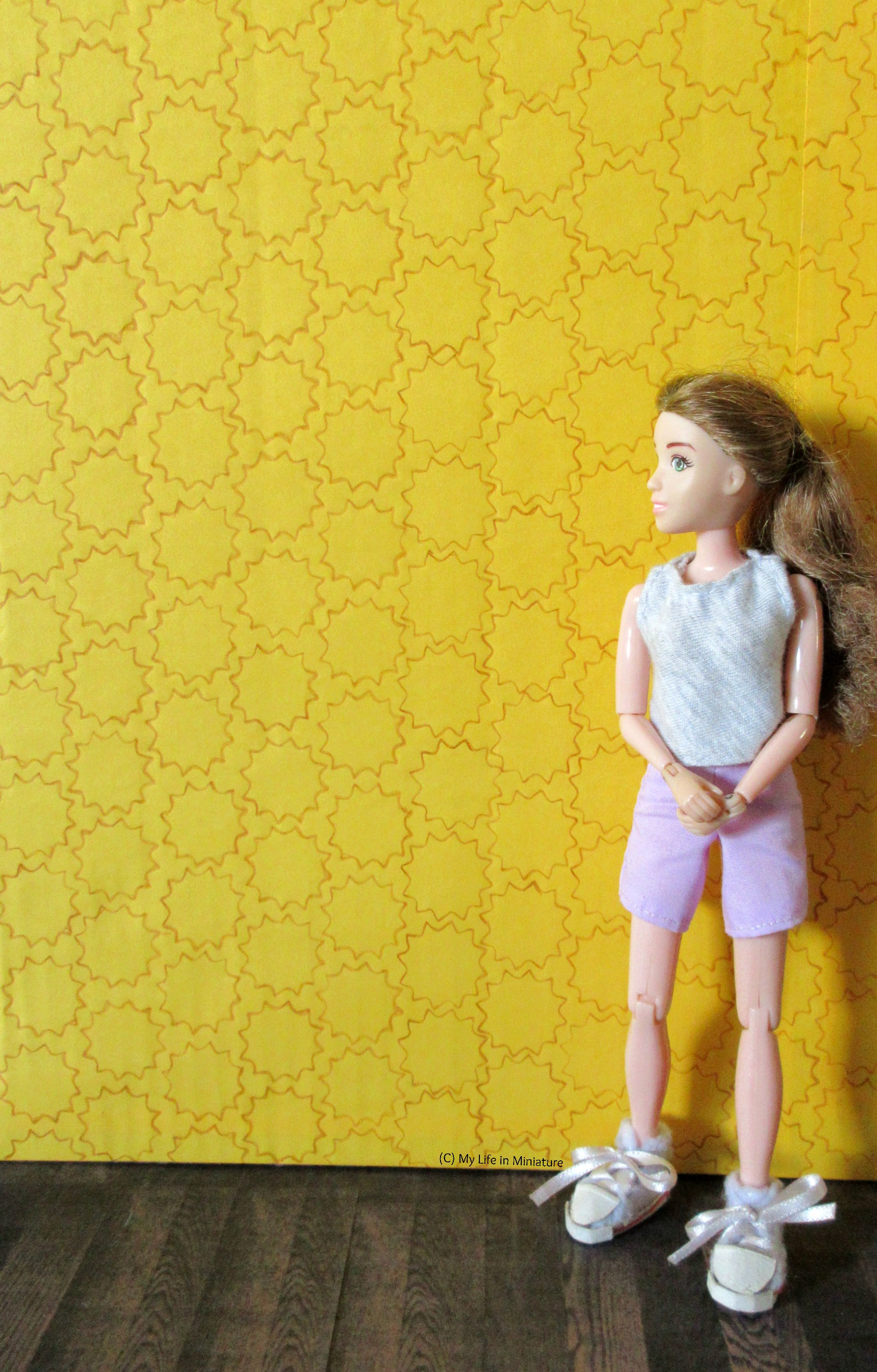 Sarah stands in front of one of the yellow walls, which is covered in the brown stencilled 12-pointed-star pattern.