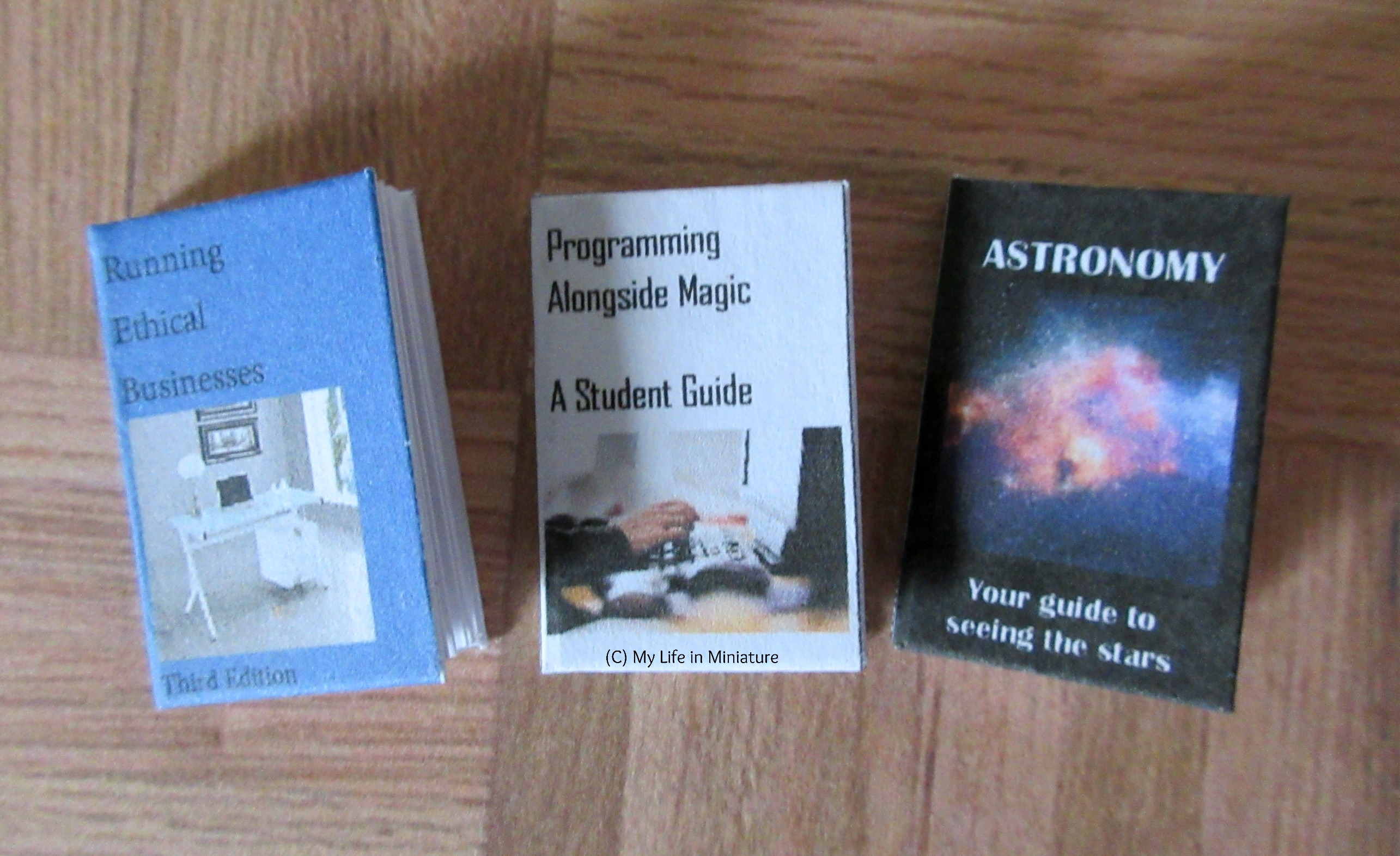 Three miniature textbooks sit on a wood parquet background. Left to right: 'Running Ethical Businesses', 3rd edition; 'Programming Alongside Magic: A Student Guide'; and 'Astronomy: Your Guide to Seeing the Stars'.