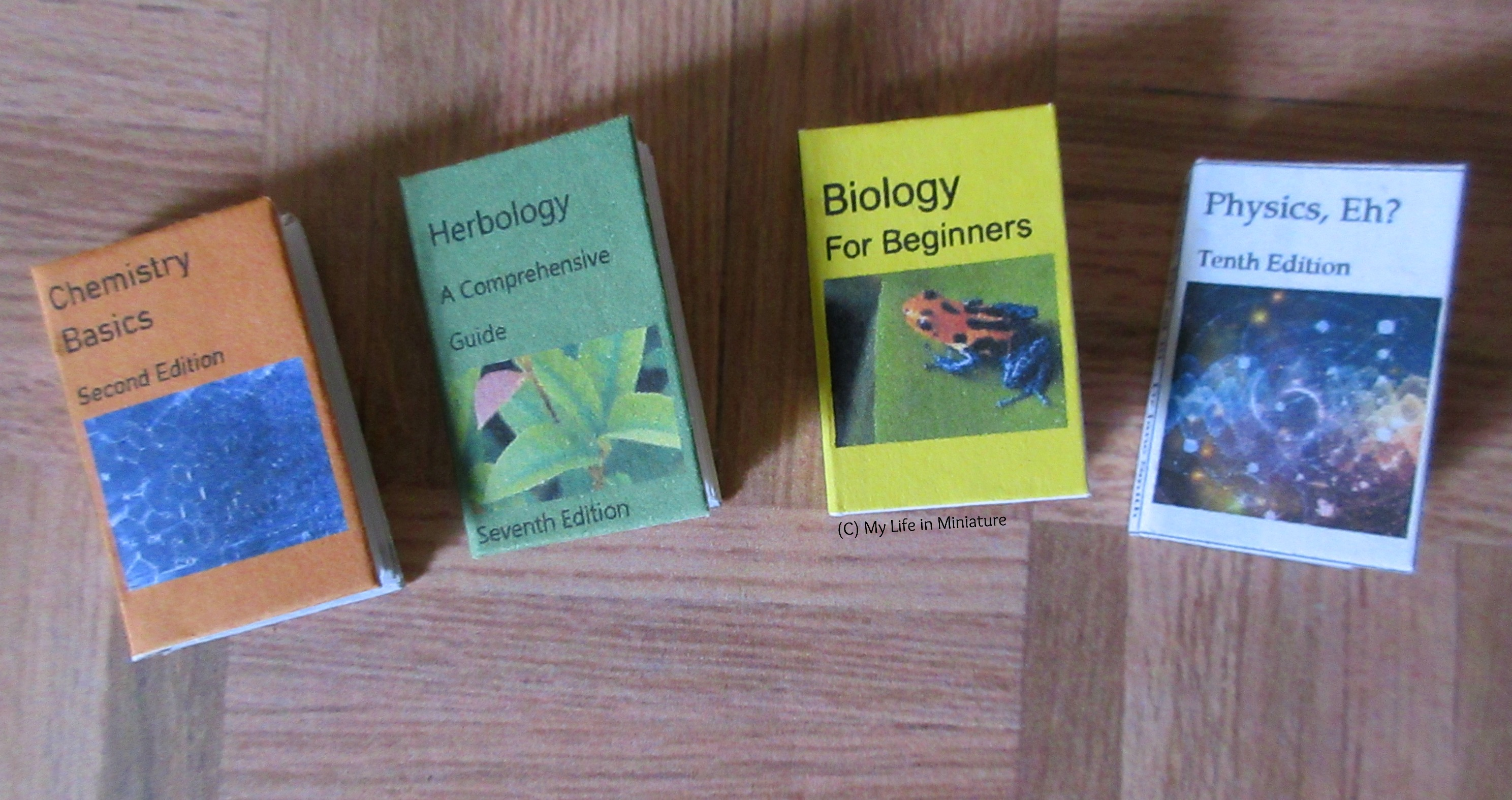 Four textbooks sit on a wood parquet background. Left to right: 'Chemistry Basics' , 2nd edition; 'Herbology: A Comprehensive Guide', 7th edition; 'Biology for Beginners'; and 'Physics, Eh?', 10th edition.