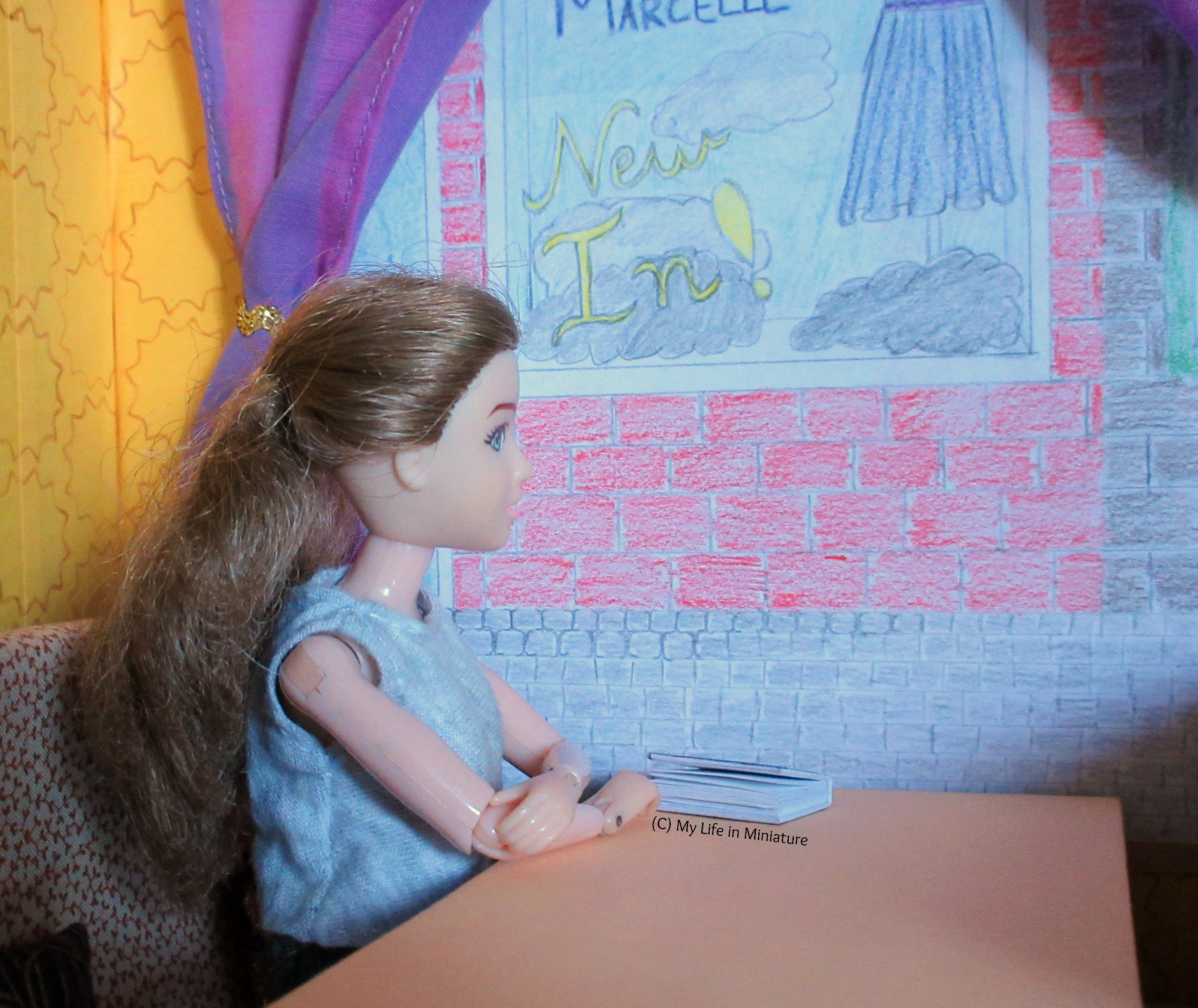 Sarah sits at the booth, looking out the window with arms folded on the table. A curtain is visible behind her.
