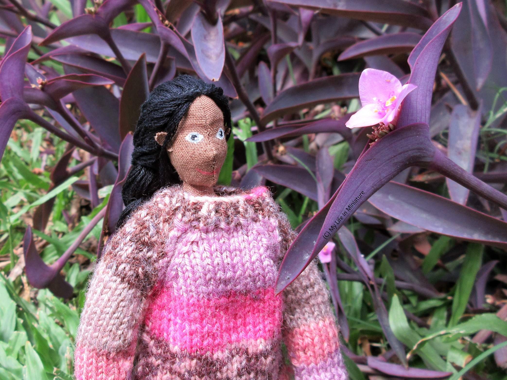 Petra looks at a pink flower nestled in purple leaves outside, black hair in a braid down her back.