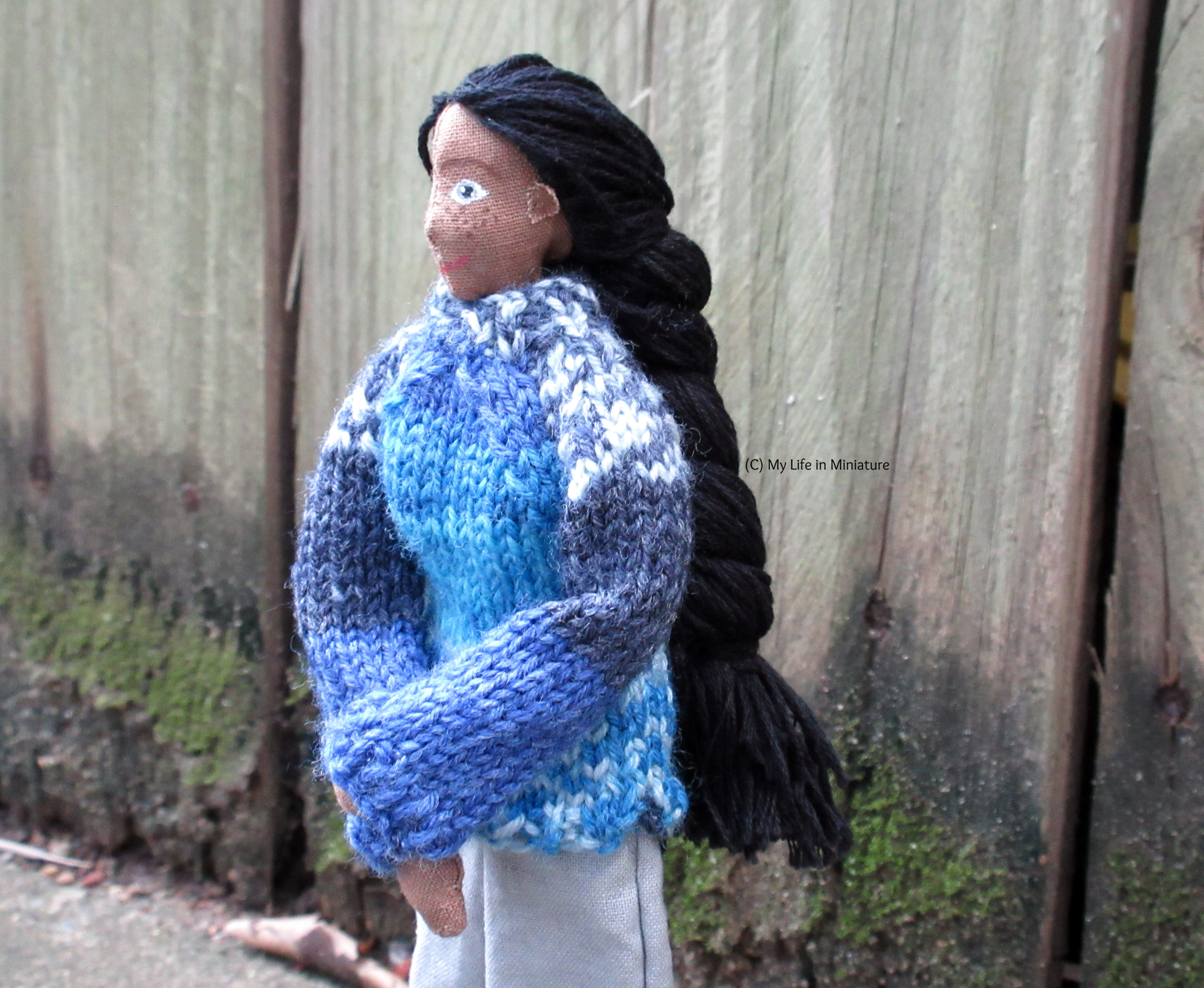 Petra holds her hands in front of her, looking off to the left. She wears the blue jumper, and her butt-length black braid is visible.