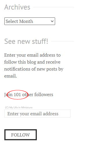 A screenshot from the My Life in Miniature website. It shows the follower count, and some stuff above and below it. The number 101 is circled in red.