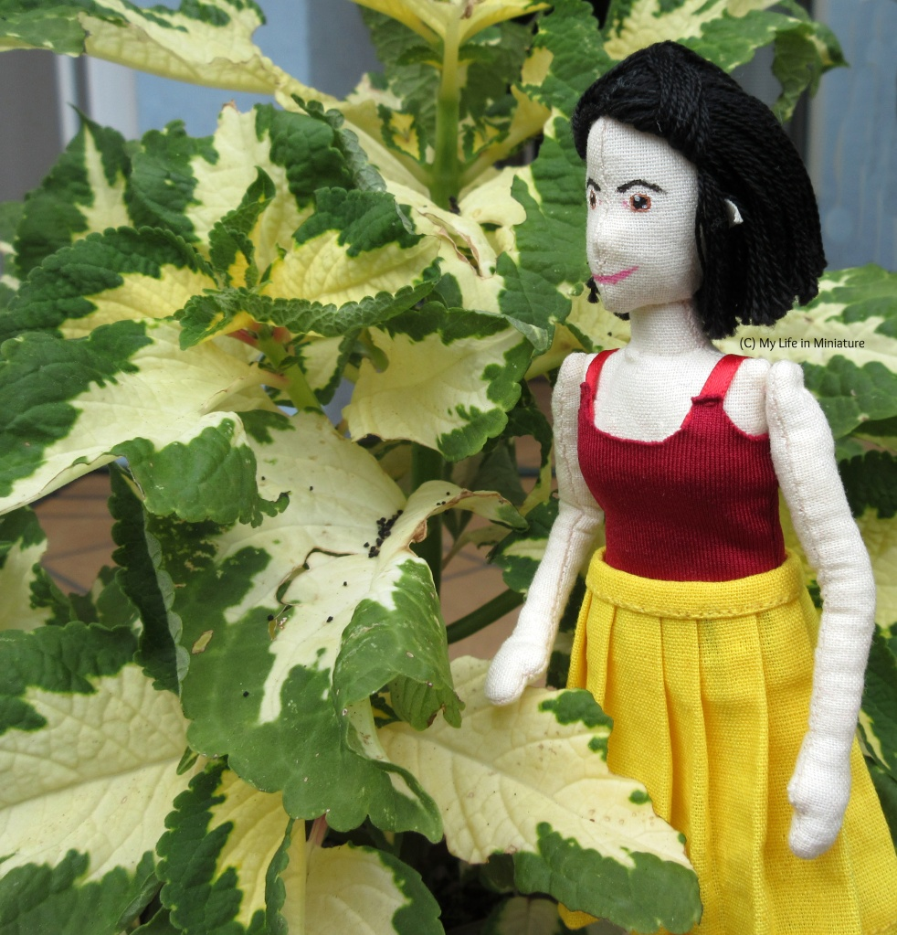 Tiffany wears the dark red singlet top and yellow pleated skirt, and looks to the left of the image. She stands on the right, next to a large plant. The plant's leaves are cream in the middle with green edges.
