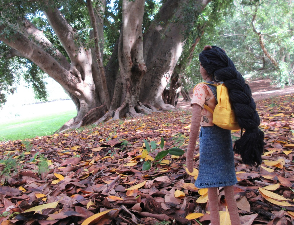 Petra faces away from the camera, looking at an enormous tree in the background. It slopes away from her slightly, and on the ground is a thick layer of brown and yellow leaves.
