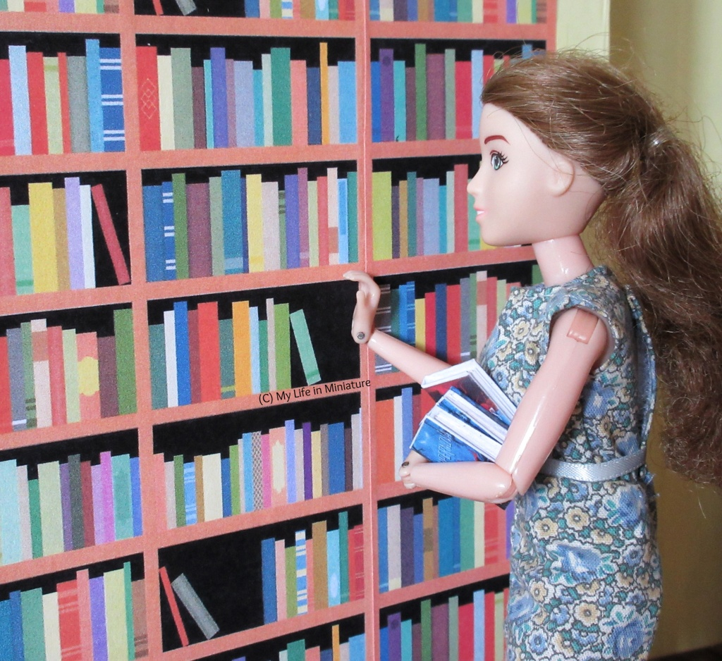 Sarah is shelving some of the newly-unpacked books. She stands at the shelves, placing a book on a shelf and holding three more in her arm.