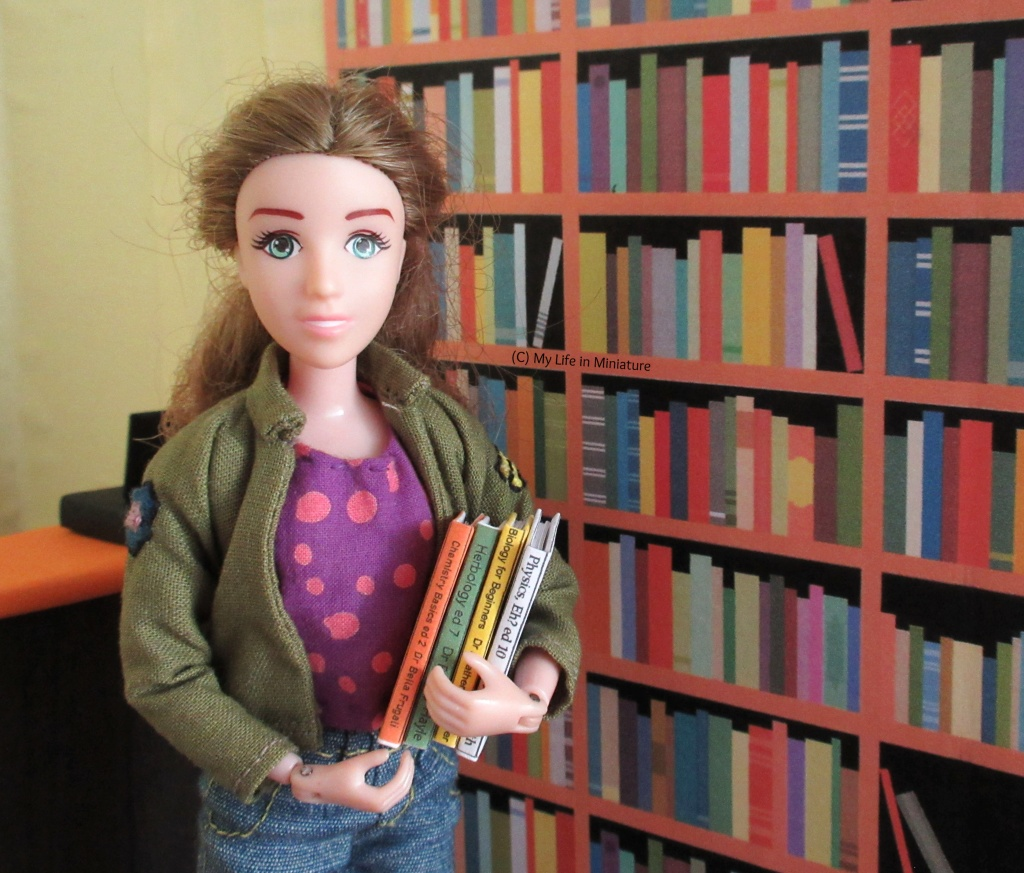 Sarah stands in front of the textbook shelves in the Palace Library. She has four textbooks in her arms, ready to be shelved.