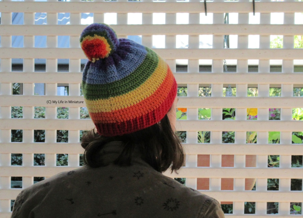 The author wears the rainbow-striped crocheted beanie, back to the camera with her head slightly turned to the right. Behind the author is a white lattice, and she has shoulder-length dark hair and a khaki jacket on.