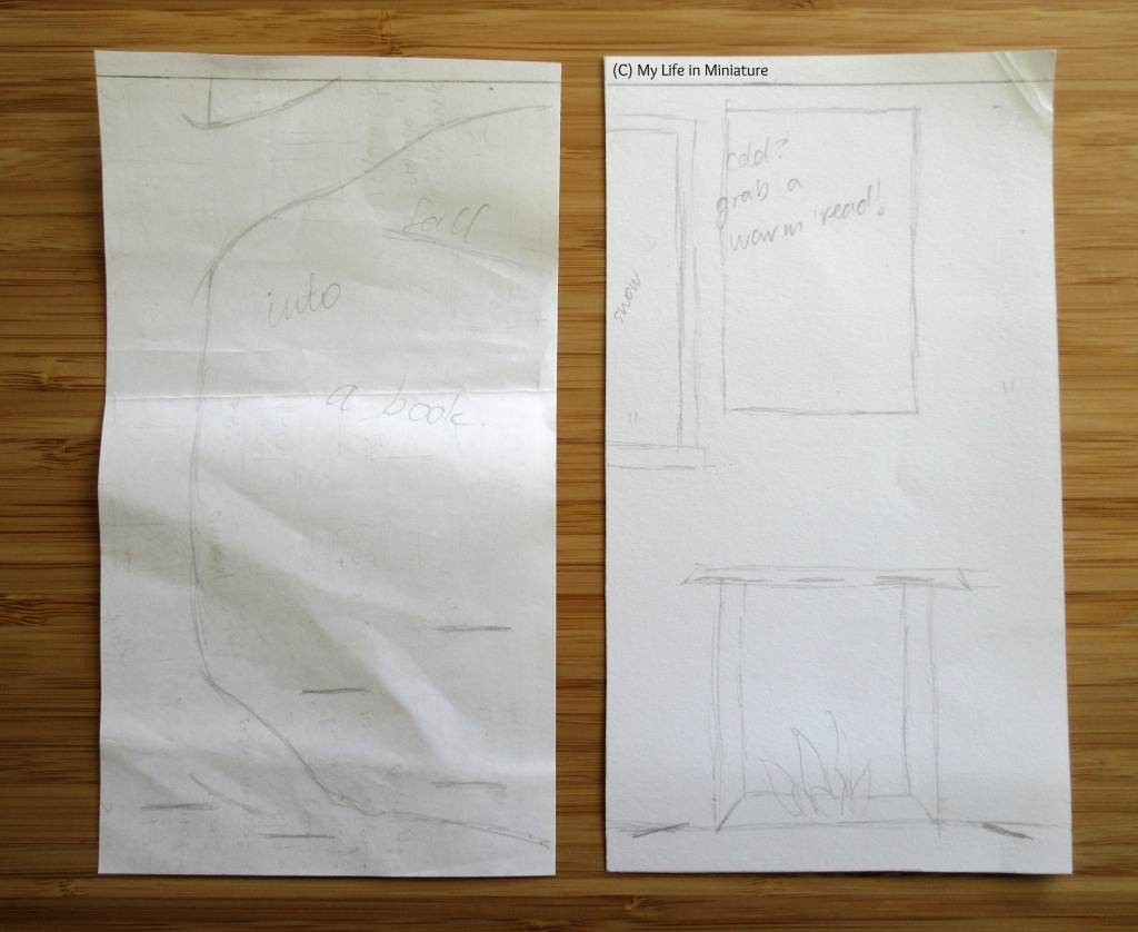Two rectangular pieces of paper sit on a wood background. They are both sketched with loose pencil drawings of autumnal and wintery window displays for The Palace Library bookstore.